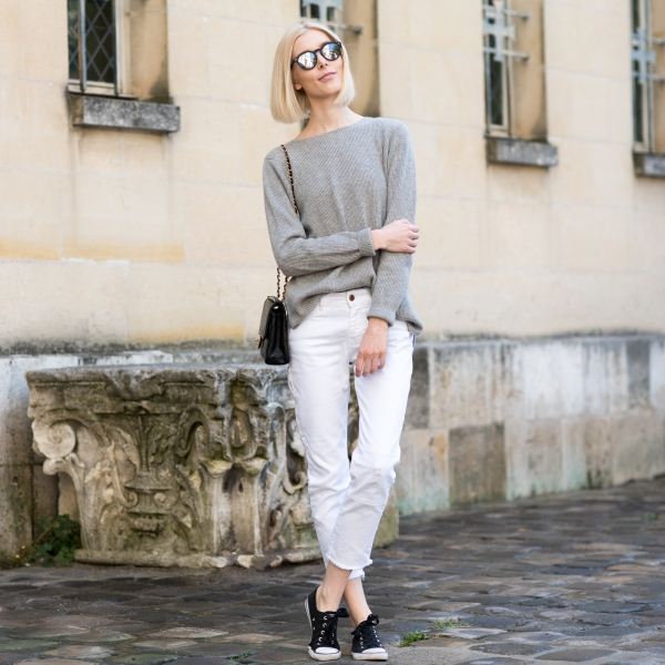 Cashmere Knit And White Jeans 12