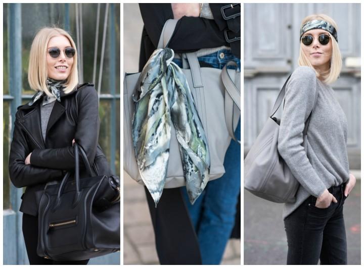 three ways to wear a silk scarf