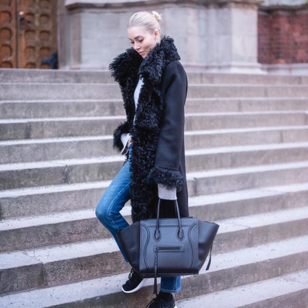 Style Plaza Lamb Fur Collar Coat 1 3